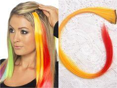 rainbow hairstyle mit clip in Extensions Echthaar orange