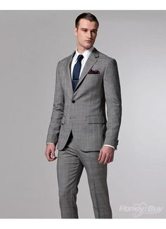 Stylish Designer Two Vents Polyester Pinstripes Grey Pocket Square Graceful Two Buttons Mens Suit Cheap
