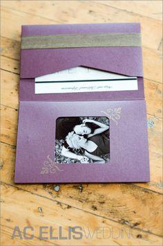 Purple/gray wedding invitation - photo insert is such a sweet idea