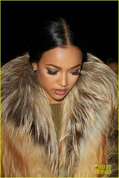 45591ecc35d Chris Brown   Girlfriend Karrueche Tran Wear Fur for NYFW  Photo Chris  Brown and his on-again girlfriend Karrueche Tran bundle up in fur coats  while sitting ...