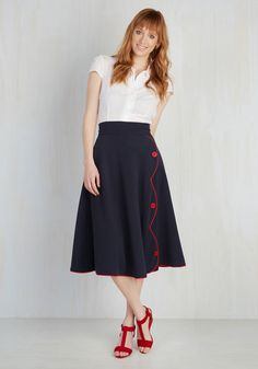 Jitterbug Reiteration Skirt in Navy. To suggest your desire to go dancing in the evening, you use your words first, and follow with this navy circle skirt! #gold #prom #modcloth
