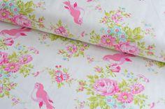 Stoff Vögel - Tanya Whelan Zoey Birdie in White Free Spirit USA - ein Designerstück von Rosenstoffe-Shop bei DaWanda