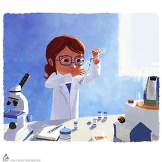 "These are two illustrations I did for the ""Alex and Sylvia"" short I got to work on produced by BRC Imagination Arts for the Milan Expo They weren't shown one after another like this but I always. Dna Art, Medical Laboratory Scientist, Lab Humor, Chemistry Art, Biology Art, Imagination Art, Science Illustration, Medical Art, Medical Science"