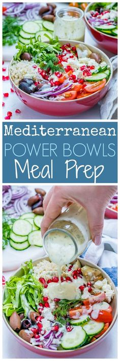 These Mediterranean Green Power Bowls are a Gorgeous Meal Prep idea! - Clean Food Crush These Mediterranean Green Power Bowls are a Gorgeous Meal Prep idea! Power Bowl, Clean Eating, Healthy Eating, All You Need Is, Clean Recipes, Healthy Recipes, Paleo Food, Food Crush, Mediterranean Diet Recipes