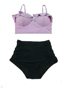 Lavender Midkini Top and Black Ruched High Waisted Waist Shorts Bottom Swimsuit Bikini Swimwear Swim Bathing suit dress clothing size S M by venderstore on Etsy