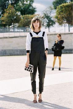 Vanessa Jackman: Paris Fashion Week SS in leather overalls Leather Overalls, Black Overalls, Overalls Women, Leather Jumpsuit, Fashion Week, Star Fashion, Daily Fashion, Winter Fashion, Paris Fashion