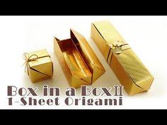 """一枚の紙から折るふた付きの箱 Origami Box in a Box II """"One-Sheet"""" - YouTube"""