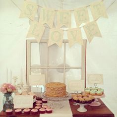 Use a vintage window as a dessert table backdrop.  Similar designs and styles available for rental or purchase.