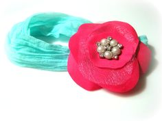 Hot Pink Flower on Teal Nylon Headband by frillsandfuss on Etsy, $8.00