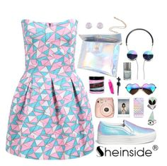 """""""SheIn 5"""" by scarlett-morwenna ❤ liked on Polyvore featuring Joshua Sanders, Accessorize, Manic Panic, Wildfox, Casetify, Fuji, Sheinside, pastel, hologram and shein"""