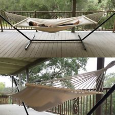 Extra Wide Swing Outdoor Cotton Canvas Double Hammock Bed Capacity New Hammock Swing Chair, Swinging Chair, Double Hammock, Lawn And Garden, Double Beds, Garden Supplies, Outdoor Furniture, Outdoor Decor, Cotton Canvas