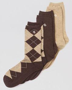 Lauren Ralph Lauren Argyle Trouser Socks, Set of 3