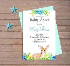Quiero compartir lo último que he añadido a mi tienda de #etsy: Bambi baby shower invitation, Printable woodland invite, Bambi  invitation party, digital forest baby shower,invite bambi boy baby shower