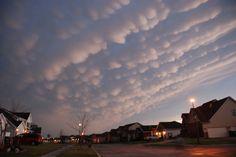 Severe storms in far southeast Nebraska spread Mammatocumulus clouds over SE Lincoln, NE.