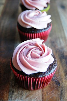 Life's a Piece of Cake: Chocolate Cupcakes with Raspberry Buttercream Frosting