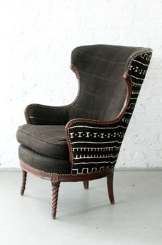 Upholstered chair. Mudcloth.