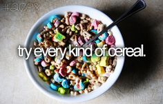 (never ending) Bucket List -- try every kind of cereal