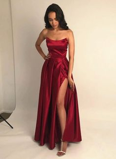 Apr 2020 - Burgundy A Line Satin Prom Dress Strapless Plus Size Floor Length Formal Evening Dresses Long Party Gowns Pretty Prom Dresses, Strapless Prom Dresses, Elegant Dresses, Dresses For Prom, Ball Dresses, Long Dresses, Dresses Dresses, Summer Dresses, Colorful Prom Dresses