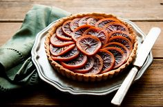 "Blood orange honey-glazed 5 spice tart. Why not top with crushed Torie & Howard ""Blood Orange & Honey"" candies, then put under broiler for a crunchy glaze?"