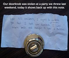Lost doorknob returns.