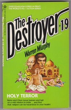 For sale the destroyer books 19 holy terror warren murphy richard sapir pinnacle books 1975 seventh printing out of print paperback remo williams master chiun emorys memories. Pulp Fiction, Fiction Books, Science Fiction, Heaven And Hell, Kids Playing, Holi, Adventure Stories, Reading, Printing