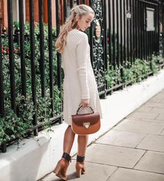 Wearing The Best of British with an Aspinal of London bag and See by Chloe boots! Sweater Dress Boots, Grey Knit Dress, Ankle Boots Dress, Dress With Boots, Pink Outfits, Cool Outfits, Fashion Mumblr, Autumn Fashion, Diana