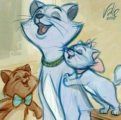 Duchess, Marie, and Toulouse from The Aristocats. If only Berlioz was included. Disney Dream, Disney Love, Disney Magic, Disney And Dreamworks, Disney Pixar, Walt Disney, Disney Films, Disney Sketches, Disney Drawings