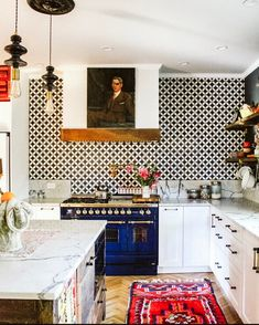 Let your character shine through in all of your design and be a reflection of who you are, this way it will be truly unique. Love all the character in this kitchen from She used our Circulos Black cement tile on the backsplash. Decor, Home Kitchens, Kitchen Remodel, Kitchen Design, Sweet Home, Kitchen Interior, Home Decor, Eclectic Kitchen, Eclectic Home
