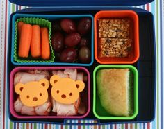 Packed in a Laptop Lunches box:  - carrots and grapes  - granola bar  - turkey and cheddar cheese   - homemade rosemary bread