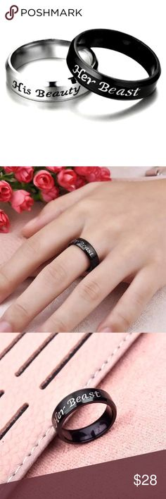 Couple's Set / Valentine's Day Super cute set! Stainless steal material. Get this set of two ring for the best price around, high quality set. 1 black ring ( her beast ) size: 10 and  1 silver ring ( his beauty ) size: 7.  Bundle the bracelet set and get an ADDITIONAL discount ! Jewelry Rings
