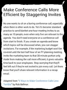 Make Conference Calls More Efficient by Staggering Invites