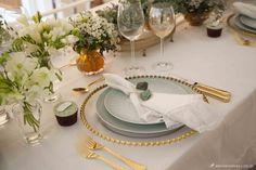 mesa verde água, decoração mesa posta, como colocar a mesa, mesa dourada, mesa elegante, tablescape decoration