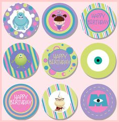 DIY Monsters Inc Cupcake Toppers by SUSHIDOLLI on Etsy, $4.50