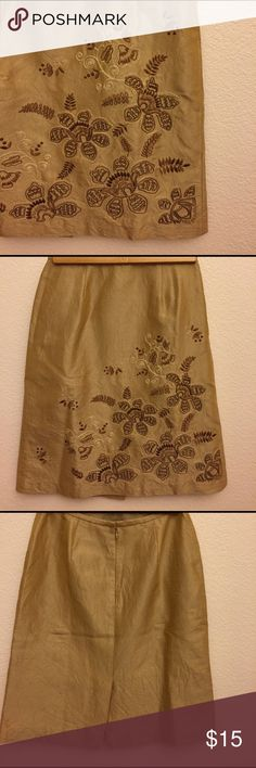 "Elegant Ann Taylor Crinkled Tan Skirt. Tan silk skirt with front detailing and acetate lining. Size 4. Waist 38"", length 22"". In excellent condition. No stains or tears.  For work or play. Ann Taylor Skirts"