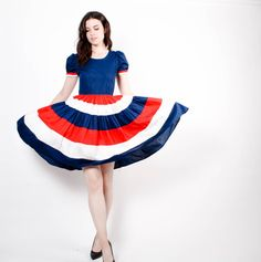 50s Red White and Blue Ruffle Cotton Dress - 1950s Cotton Dancing Dress - The All American Dress - 5309