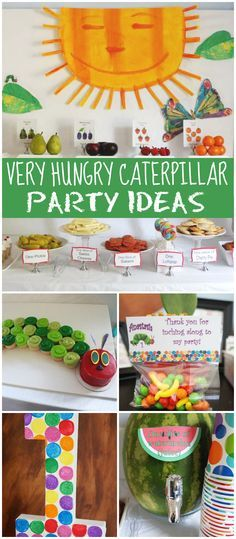 What an adorable Very Hungry Caterpillar party Fun food ideas See more party ideas at Baby First Birthday, Boy Birthday Parties, Birthday Ideas, Birthday Banners, Farm Birthday, Birthday Wishes, Birthday Invitations, Husband Birthday, Hungry Caterpillar Food