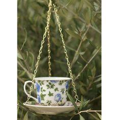 Blue Floral t cup n saucer bird feeder