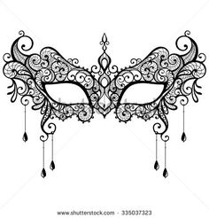 Beautiful black lace masquerade mask isolated on white background. Vector illustration