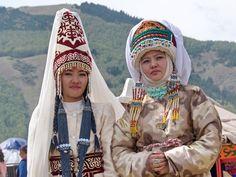 Kazakh women in traditional dress.