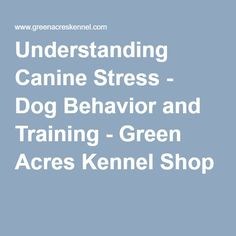 Understanding Canine Stress - Dog Behavior and Training - Green Acres Kennel Shop