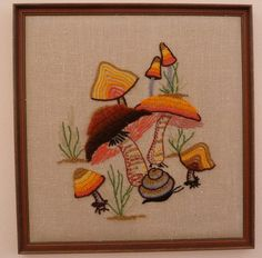 Vintage Mod Crewel Mushroom Delight Wall Art in oranges. Stitches of perfection!