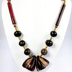 Tribal Seed Pod Necklace Beaded Red Green Brown 34 inch Strand Organic n490