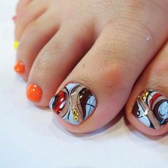 52 Best nail designs decorated with glitter Page 47 of 52 Pretty Toe Nails, Cute Toe Nails, Pretty Toes, Toe Nail Art, Gorgeous Nails, Toenail Art Designs, Pedicure Designs, Toe Nail Designs, Nails Design