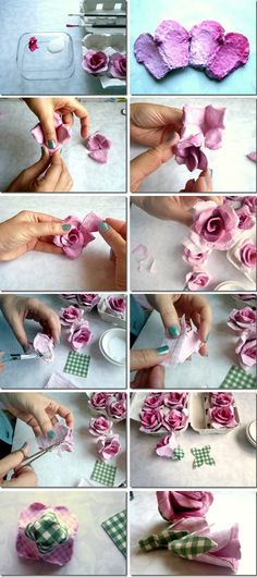Egg carton rose DIY