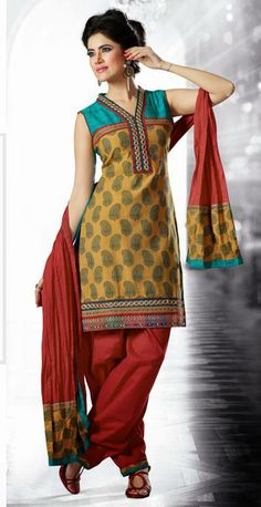 USD 73.98 Yellow Cotton Resham and Mirror Work Salwar Kameez 27420