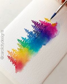 A quick watercolor therapy session with rainbow trees Tree Watercolor Painting, Watercolor Paintings For Beginners, Watercolor Lettering, Beginner Painting, Easy Watercolor, Watercolour Tutorials, Watercolor Techniques, Simple Paintings For Beginners, Watercolor Pencil Art