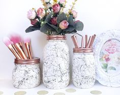 White marble, black marble effect ball mason jar, marble desk accessories, marbl. - New Ideas Marble Jar, Marble Desk, Rose Gold Marble, Black Marble, Home Decor Accessories, Decorative Accessories, Makeup Storage Desk, Office Storage, Ball Mason Jars