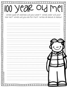 Nicole Olver This not only incorporates the day of school, but it is also an excellent writing prompt for students. Kindergarten Writing, Teaching Writing, Student Teaching, Writing Activities, Classroom Activities, Teaching Ideas, Literacy, 100th Day Of School Crafts, 100 Days Of School