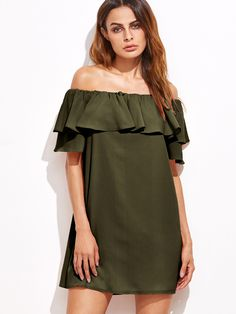 Shop Army Green Off The Shoulder Ruffle Dress online. SheIn offers Army Green Off The Shoulder Ruffle Dress & more to fit your fashionable needs.
