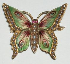 Art Nouveau Riker Enameled Butterfly 14k Brooch Watch Pin Gorgeous enameled butterfly with the body and wings lined with pearls.